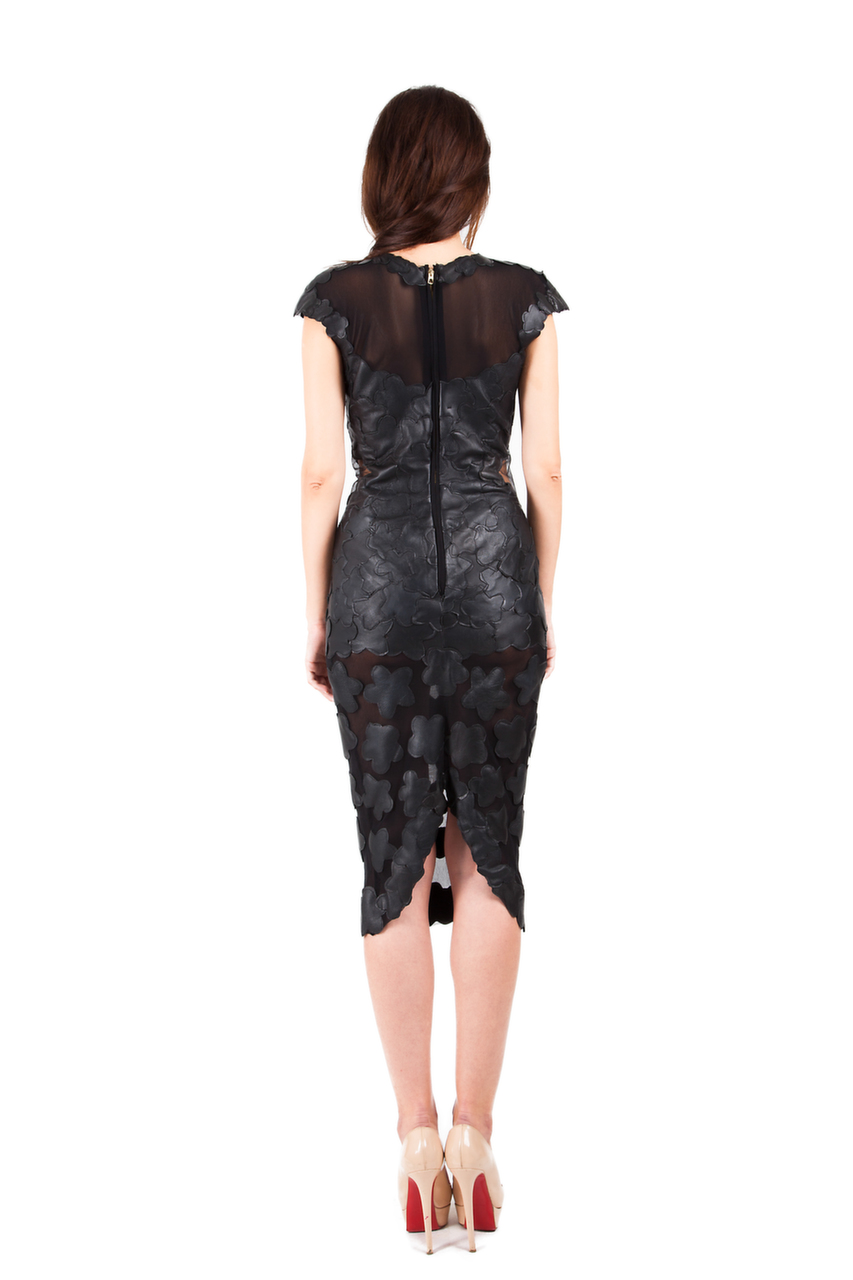 Transparent Tulle Dress With Leather Flowers Norinast Shop