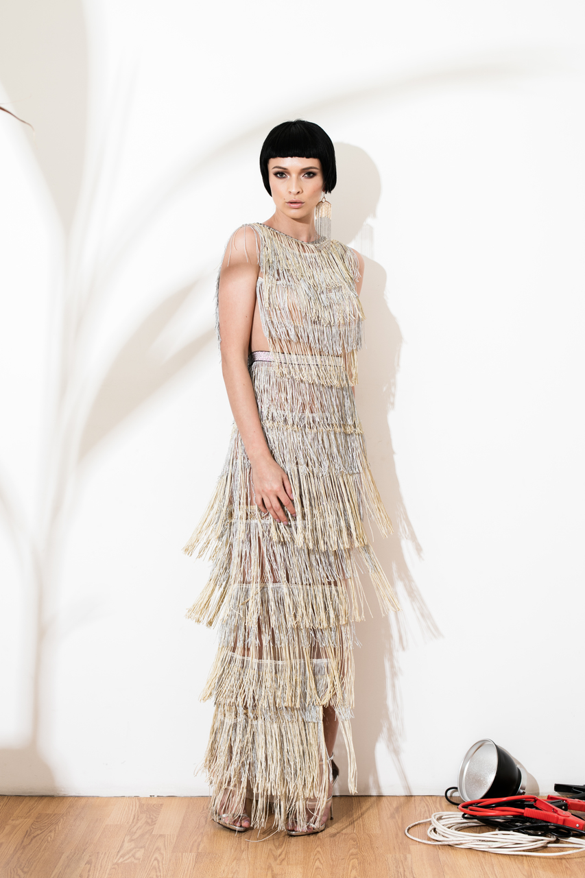 nina silver and gold fringe dress norinast shop